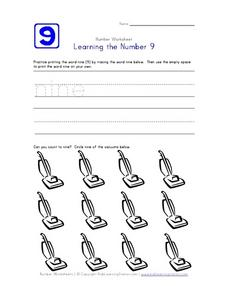 Learning the Number 9 Worksheet