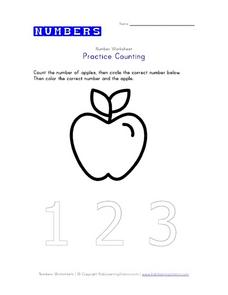 Practice Counting- 1, 2, 3 Worksheet