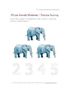 African Animals Worksheet- Practice Counting Worksheet