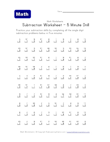 subtraction worksheet 5 minute drill worksheet for 2nd 3rd grade lesson planet. Black Bedroom Furniture Sets. Home Design Ideas
