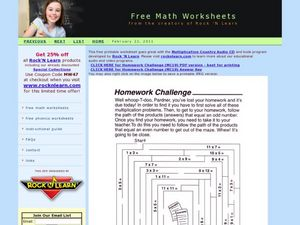 Homework Challenge - Multiplication Maze Worksheet