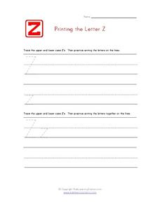 Printing the Letter Z z Worksheet