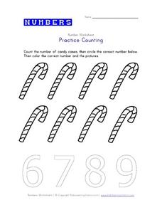 Practice Counting: Candy Canes Worksheet
