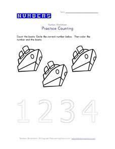 Practice Counting: Boats Worksheet