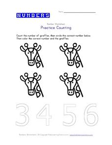 Numbers - Practice Counting to 4 Worksheet