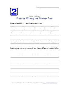 Writing the Number Two Worksheet