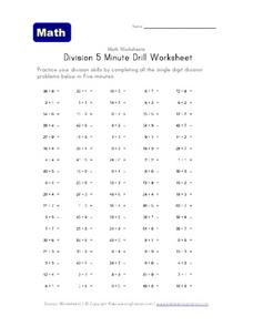 Division 5 Minute Drill Worksheet Worksheet