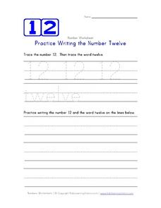 Practice Writing the Number Twelve Worksheet