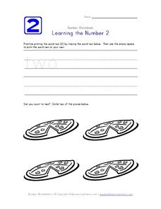 Learning the Number 2 Worksheet