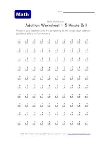 Addition Worksheet - 5 Minute Drill Worksheet