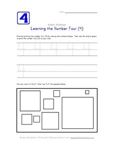 Learning the Number Four (4) Worksheet