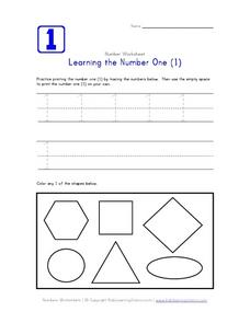 Learning the Number One (1) Worksheet