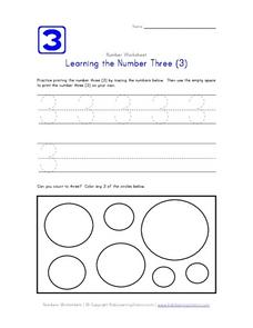 Learning the Number Three (3) Worksheet