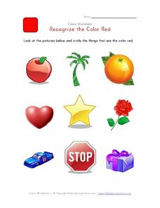 Recognize the Color Red Worksheet