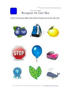 Recognize the Color Blue Worksheet
