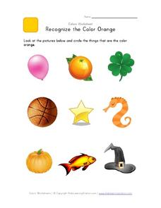 Recognize the Color Orange Worksheet