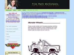 Monster Wheels Multiplication Worksheet
