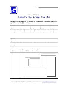 Learning the Number Five (5) Worksheet