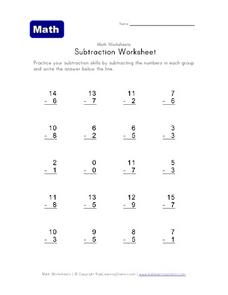 Math Subtraction Worksheet: Subtract a 1 digit number from a 2 digit number Worksheet