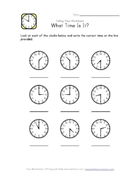 Telling Time Worksheet: Nearest Half Hour Worksheet for