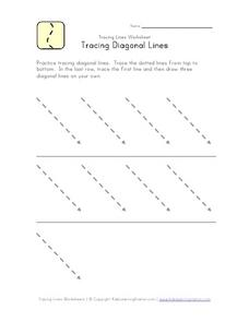 Tracing Diagonal Lines: Top to Bottom Worksheet