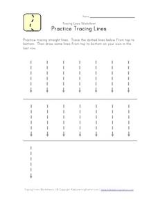 Practice Tracing Lines (Small Straight Lines) Worksheet