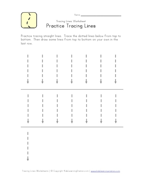 Practice Tracing Lines (Small Straight Lines) Worksheet for Pre-K ...