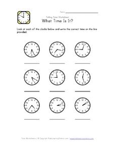 Telling Time to the Nearest Minute Worksheet