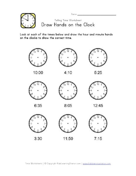 draw hands on the clock nearest five minutes worksheet for 3rd 4th grade lesson planet. Black Bedroom Furniture Sets. Home Design Ideas