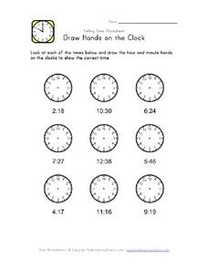Draw Hands on the Clock 2 Worksheet