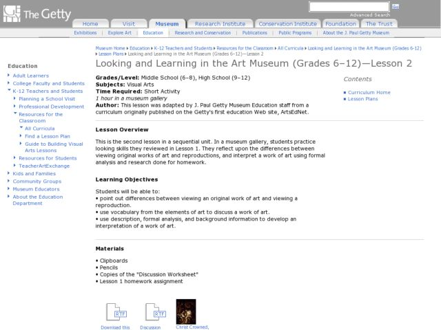Looking and Learning in the Art Museum Lesson Plan