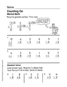 Counting On Worksheet