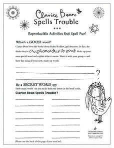 Clarice Bean Spells Trouble Worksheet