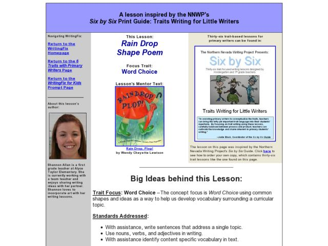 Rain Drop Shape Poem Lesson Plan For 2nd