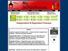 Independent & Dependent Clauses Interactive