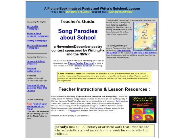 Song Parodies about School Lesson Plan