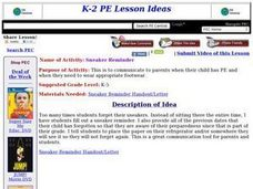 PE Activity: Sneaker Reminder Lesson Plan