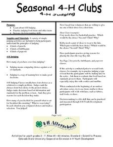 Seasonal 4-H Clubs- Judging Lesson Plan