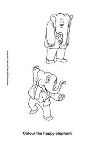 Color the Happy Elephant Worksheet