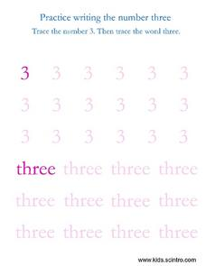 Practice Writing the Number Three Worksheet