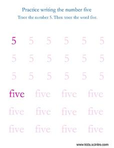 Practice Writing the Number Five Worksheet