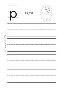 Letter p is for Pig Worksheet