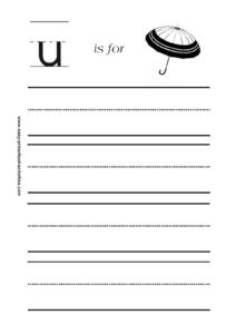 Letter u is for Umbrella Worksheet