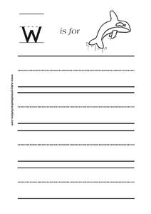 Letter w is for Whale Worksheet
