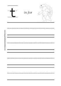 Letter t is for Turtle Worksheet