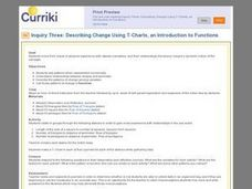 Describing Change Using T-Charts, an Introduction to Functions Lesson Plan