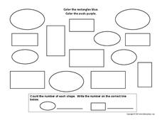 Counting Shapes-Rectangles and Ovals Worksheet