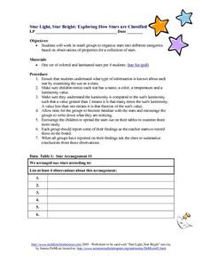 Star Light, Star Bright: Exploring How Stars are Classified Worksheet
