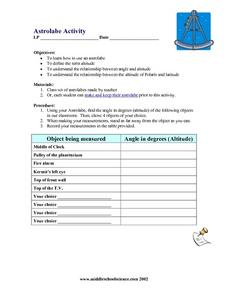 Astrolabe Activity Lesson Plan