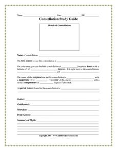 Constellation Study Guide Worksheet